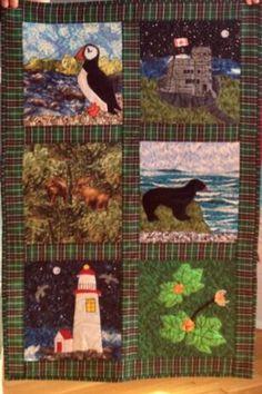 Newfoundland quilt :) Newfoundland Canada, Newfoundland And Labrador, Quilted Placemat Patterns, Quilt Patterns, Quilt Festival, Quilting Projects, Quilting Designs, Tartan Crafts, Rug Hooking Designs