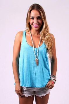 Aruba blue jay tank - The Aruba tank is the perfect slub tank for spring! Pair it with some white skinnies or cutoffs with wedges on your beach vacay! It is sur