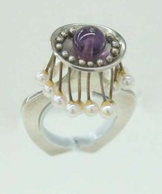 Earl Pardon, Cocktail Ring,1960's,sterling silver, silver wire, pearls, amethyst,.. This is one of the coolest rings I have seen !