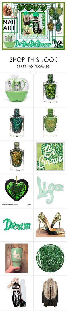 """Green mermaid magic! Nail it! 💚👌"" by maijah ❤ liked on Polyvore featuring Green Leaf Art, NOVICA, Christian Louboutin, Ivanka, Sugarbaby, River Island and nailt"