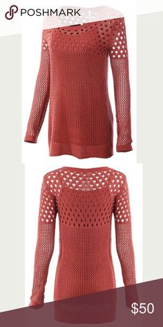 🎀 Open Hole Mesh Sweater NWT RETAIL! 💕 Monoreno mesh open hole burnt-orange sweater. PERFECT FOR FALL (weather and color)🍁🍂 just what you need to add to your closet! 2 larges available but can order more. Monoreno Sweaters