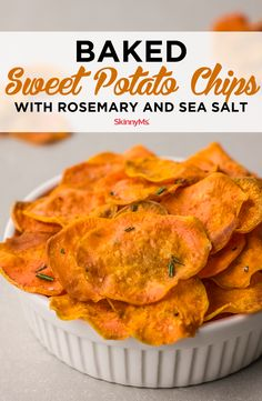 Want a low-fat alternative to store-bought snacks? Make these delicious baked sweet potato chips with rosemary and sea salt. They're so easy to make! Healthy Recipes, Clean Eating Recipes, Clean Eating Snacks, Healthy Snacks, Cooking Recipes, Skinny Recipes, Sweet Potato Chips, Sweet Potato Recipes, Appetizer Recipes