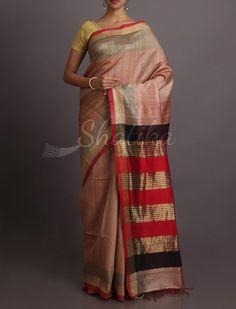 Tapti Colored Stripes On Pallu Good Looking #KhadiSilkSaree