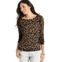 Petite Tiger Print Sheer Sweater - We love the earthy glam of this sheer sweater, starring a pretty snow tiger motif and a casually drapey fit. Add a cami underneath for more coverage. Ballet neck. Long sleeves. Ribbed neckline, cuffs and hem.