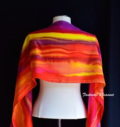 Silk scarf hand painted in gorgeous warm by FantasticPheasant