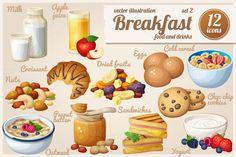 Breakfast: Cartoon vector food icons by Ann-zabella on Creative Market