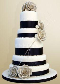 Silver Tea Rose Wedding Cake