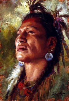 "A Blackfoot man steadies his gaze in ""Strength of Spirit"" from 2005.༺ ♠ ༻*ŦƶȠ*༺ ♠ ༻"