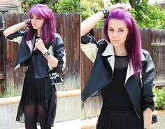 Ashely Black And White Faux Leather Jacket, H Sheer To Solid Black Shirt, Love21 High To Low Black Shiffon Skirt