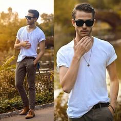 plaint white tee + brown pants + brown shoes + cool shades + cool necklace