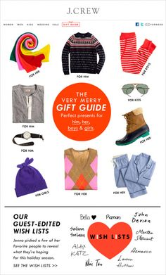 lots of features of insider's wish lists #jcrew #marketingemail #curatedmajor - see potential for dynamic styles based on LY's purchases