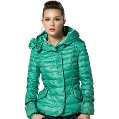 Women's Hooded Collar Double-breasted Down Jacket