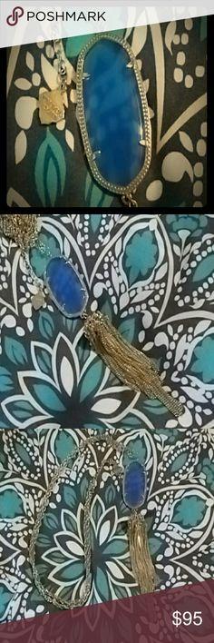 NWOT Gorgeous Kendra Scott necklace Gorgeous KS Rayne tassel necklace. Gold with breath taking periwinkle stone. NWOT Kendra Scott Jewelry Necklaces