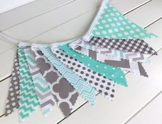 Bunting Fabric Banner, Fabric Flags, Nursery Decor, Birthday Decoration, Baby Shower - Mint Green, Grey, Gray, Chevron, Gingham, Houndstooth