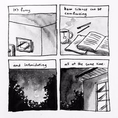 Source for comic: Buy a copy of Debbie Tung's book Quiet Girl in a Noisy World: An Introvert's Story Mood Quotes, Poetry Quotes, Life Quotes, Silence Quotes, Introvert Quotes, My Bubbles, Writers Write, Cute Comics, Illustration