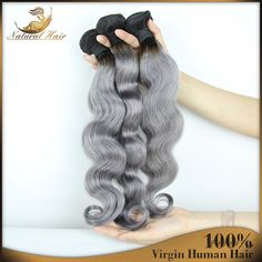 Find More Hair Weaves Information about Selling 4Pcs/Lot Gray Ombre Brazilian Hair Extensions 100% 7A Human Hair Weft Cute Virgin Hair Waving For Black Women,High Quality hair wrap,China hair products for wavy hair Suppliers, Cheap hair straightener for black hair from Natural Hair Crafts Factory on Aliexpress.com
