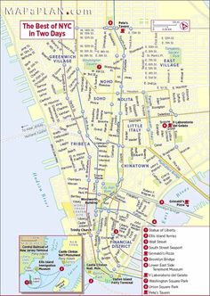 the best of nyc in two days new york top tourist attractions map