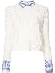 Veronica Beard Detachable Collar Sweater, http://www.kirnazabete.com/just-in/swtr-cable-w-detach-cllr-cuff