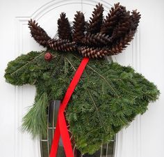 This is a Moose Head wreath! by Pam's Wreaths, Harpswell, Maine Christmas Moose, Rustic Christmas, Winter Christmas, Christmas Holidays, Wreath Crafts, Christmas Projects, Holiday Crafts, Holiday Decor, Holiday Wreaths