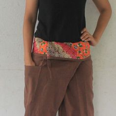 patchwork inside fold over with brown  full length  Thai