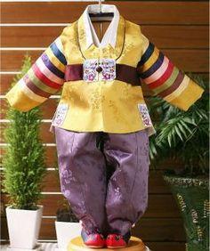 Baby boy's first hanbok - Mustard