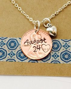 Anniversary Date Necklace Custom Penny Necklace by UniquelyImprint