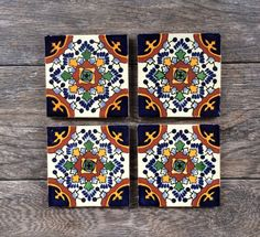 Mexican Tiles Have Been Lovingly Turned Into Beautiful Coasters For Your Home These Are Authentic Made In Mexico The Addition Of A Cork Pad