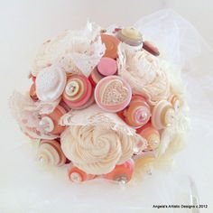 Lace Button Wedding Bouquet - made of buttons!!  (Angela's Artistic on Etsy)
