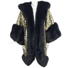 Preowned Amen Wardy Gold Metallic Brocade And Black Fox Fur Trim... (8.595 RON) ❤ liked on Polyvore featuring men's fashion, men's clothing, men's outerwear, men's coats, black, outerwear, mens long coat and mens brocade coat