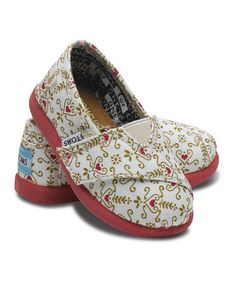 Take a look at this White Ditsy Heart Damask Classics - Tiny by TOMS on #zulily today!