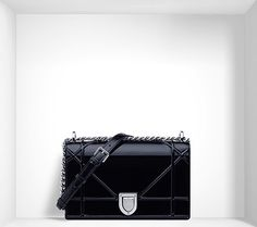 """""""diorama"""" bag in black patent calfskin - Dior"""