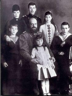 1888 - Alexander III with his wife Empress Maria Fyodorovna and their children: Emperor Nicholas II, Grand Duke Alexander Alexandrovich,Grand Duke George Alexandrovich, Grand Duchess Xenia Alexandrovna, Grand Duke Michael Alexandrovich and Grand Duchess Olga Alexandrovna