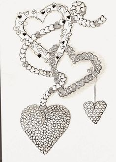 Efie goes Zentangle Zentangle Drawings, Doodles Zentangles, Tangle Doodle, Zen Doodle, Doodle Patterns, Zentangle Patterns, Doddle Art, Heart Doodle, Printable Adult Coloring Pages
