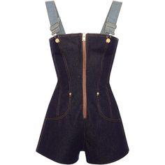 Natasha Zinko     Denim Overall Romper (€435) ❤ liked on Polyvore featuring jumpsuits, rompers, jumper, black, denim rompers, denim bib overalls, playsuit romper, bib overalls and denim overalls