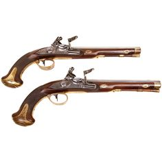 A Pair of 48 Bore Russian Flintlock Officer's Pistols