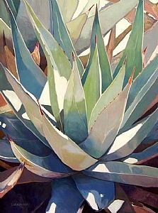 Close to the Heart by Adele Earnshaw Oil ~ 40 x 30 Watercolor Cactus, Watercolor Leaves, Watercolor Paintings, Watercolors, Plant Painting, Plant Drawing, Desert Art, Cactus Art, Mexican Art