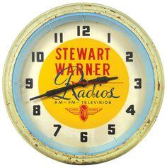 Stewart Warner Radios neon clock, mfgd by Lackner, round case, VG working cond, on May 2011 Unique Clocks, Vintage Clocks, Vintage Signs, Advertising Ads, Vintage Advertisements, Clock Art, Wall Clocks, Rock Around The Clock, Neon Clock
