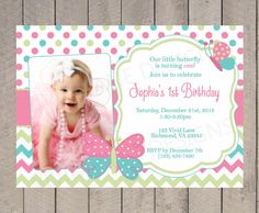 Girl First Birthday Invitation, Butterflies, Spring First Birthday, Pink, Green and Teal, With Photo, Butterfly, 1st, 2nd, 3rd, 4th - K050