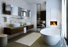 Contemporary fireplace at Roman House Berkeley Homes, Bathroom Fireplace, London Property, Bathroom Inspiration, Interior Inspiration, New Homes For Sale, Mid Century Modern Furniture, Pent House, Luxury Apartments