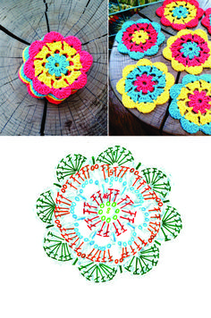 Flower crochet coaster pattern