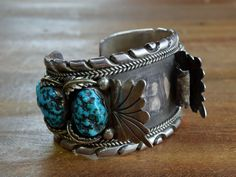 Vintage Navajo Sterling Silver and Turquoise Watch Cuff Bracelet - Massive!