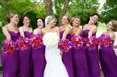 The Bridesmaids Bouquets matched their Dresses Perfectly! Look at how beautiful that Fuschia is with the Purple!Events by Town & Country Gardens Red Wedding Flowers, Purple Wedding Flowers, Wedding Colors, Plum Wedding, Fall Wedding, Lilac Bridesmaid Dresses, Bridesmaid Bouquet, Wedding Dresses, Gown Wedding
