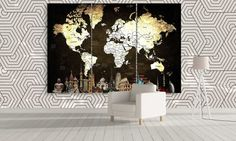 LARGE Canvas World Map Wall Art / Extra Large 3 by CanvasFactoryCo