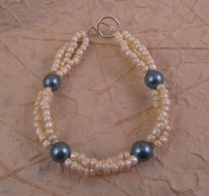 Blue and Cream Faux Pearl Bracelet