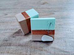 Geschenk Box mit Blume aus Draht und einem Stein vom Gardasee 60x60x35mm Ring Verlobung, Cufflinks, Stud Earrings, Accessories, Jewelry, Wire Flowers, Godchild, Lake Garda, Stone