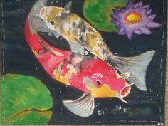 Check out my sister's awesome artwork on etsy! Watercolor Painting of Koi Fish with Lily Pads by WhenAngelsDraw, $75.00