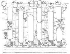 Zespół domów w układzie pasmowo-szeregowym. Projekt: Karolina Chodura, WA Politechniki Śląskiej House Architecture, Floor Plans, Diagram, Home Architecture, Floor Plan Drawing, House Floor Plans
