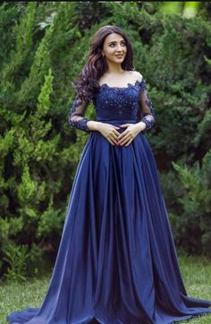 Sexy Lace Formal Prom Dress Long Sleeves Blue | Cherry