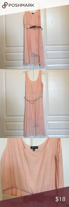 Lily Rose - Peach - High Low Dress Lightweight material, Sewn in Lining, Brown & Cream Braided Belt. Lily Rose Dresses High Low