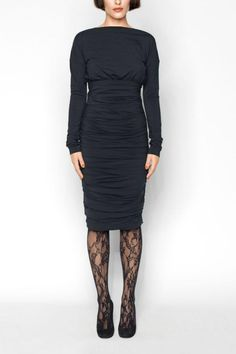 Comfort and style unite: this dress in an empire style with a loose-fitting top section features a crew-cut boat neckline finishing just above the shoulders, and a tailored draped skirt. The enchantment of this dress doesn't end with the cut, however. The soft material adds even more feel-good-factor and the double-processing ensures that minimal seams are visible. The perfect dress for a chic and stylish look.   Karen Dress by Wolford. Clothing - Dresses - Long Sleeve Cincinnati, Ohio
